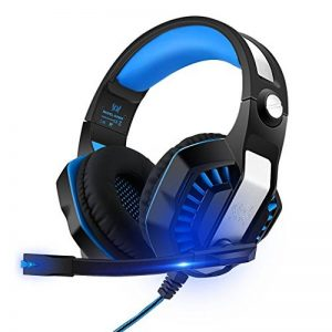 Casque de Jeu,Casque Gamer avec Micro 3.5mm Jack Premium Anti Bruit Audio Stéréo Basse avec LED Lampe Jeux Vidéo Gaming Compatible pour PC Xbox One,PS4, Laptop Tablette Gaming Headset de la marque GreensKon image 0 produit